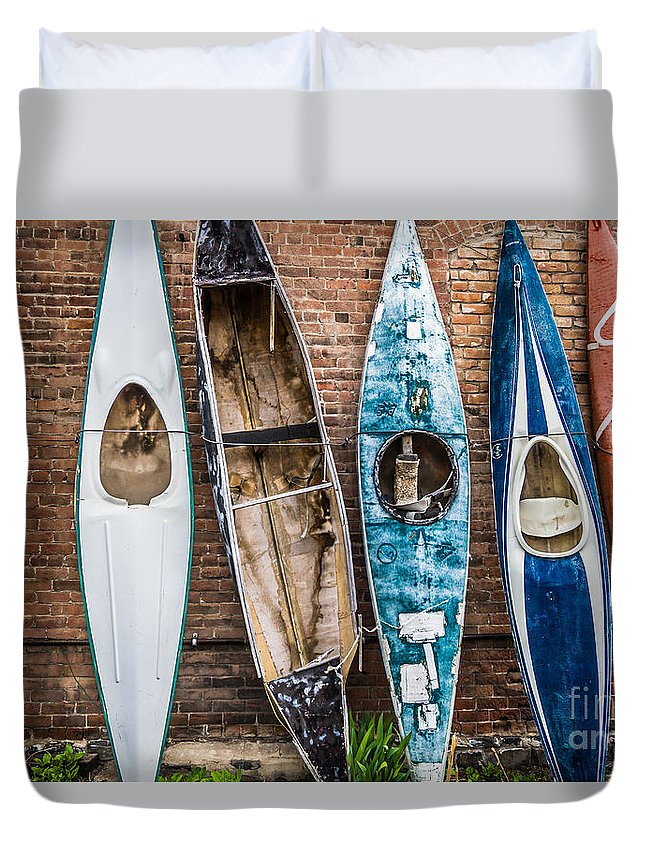Colorado Duvet Cover featuring the photograph Kayaks 4 by Ashley M Conger
