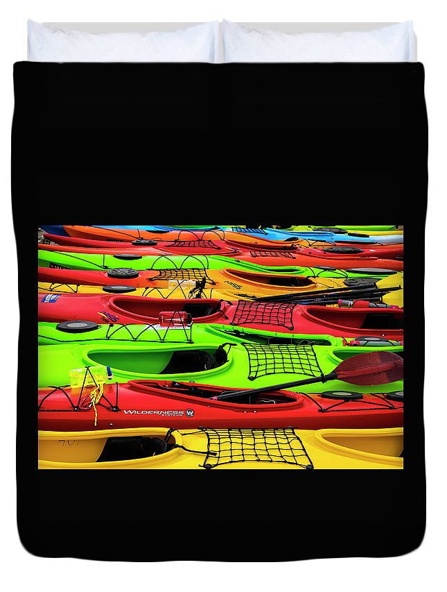 Transport Duvet Cover featuring the photograph Kayaks by Risto Lavi