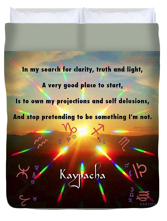 Enlightenment Duvet Cover featuring the mixed media Kaypacha's Mantra 12.30.2015 by Richard Laeton
