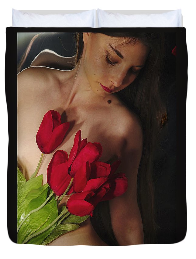 Female Nude Abstract Mirrors Flowers Duvet Cover featuring the photograph Kazi1128 by Henry Butz