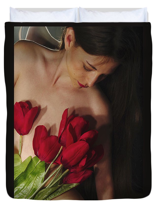 Female Nude Abstract Mirrors Flowers Photographs Duvet Cover featuring the photograph Kazi1129 by Henry Butz