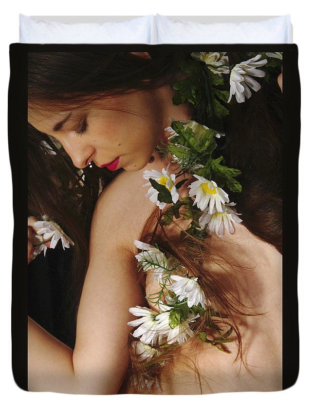 Female Nude Abstract Mirrors Flowers Photographs Duvet Cover featuring the photograph Kazi1134 by Henry Butz