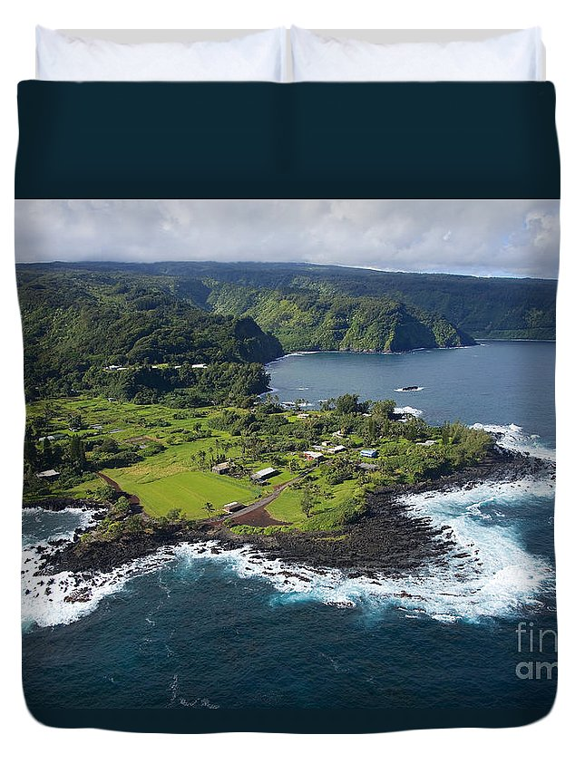 Aerial Duvet Cover featuring the photograph Keanae Peninsula Aerial by Ron Dahlquist - Printscapes