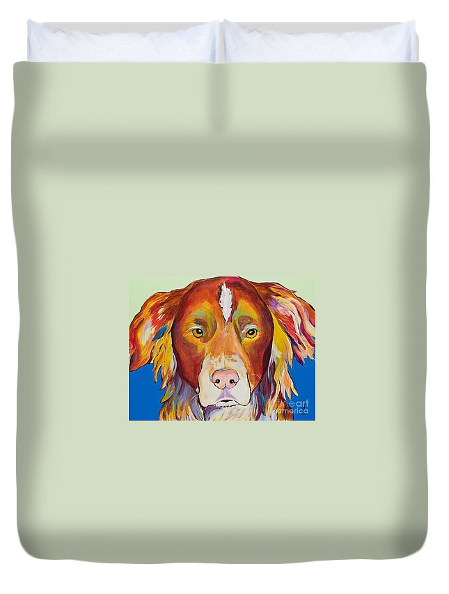 Australian Border Collie Duvet Cover featuring the painting Keef by Pat Saunders-White