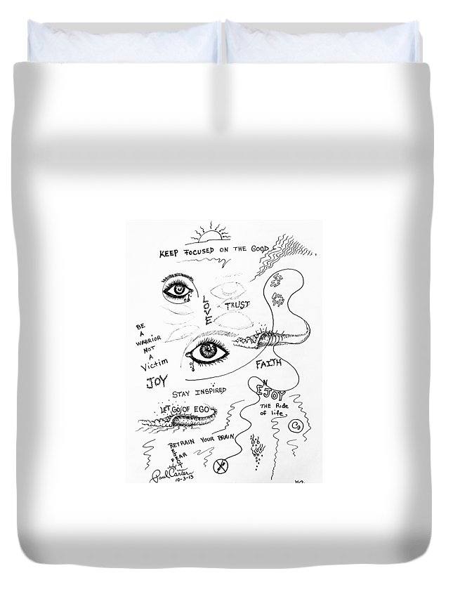 Paulcarterart Duvet Cover featuring the drawing Keep Focused by Paul Carter