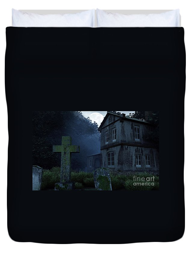 Dark Duvet Cover featuring the digital art Keepers Of The Manor by Richard Rizzo