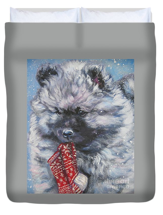Dog Duvet Cover featuring the painting Keeshond Puppy With Christmas Stocking by Lee Ann Shepard