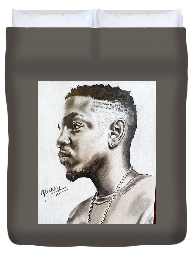 Kendrick Duvet Cover featuring the drawing Kendrick Lamar by Daniel Murrell