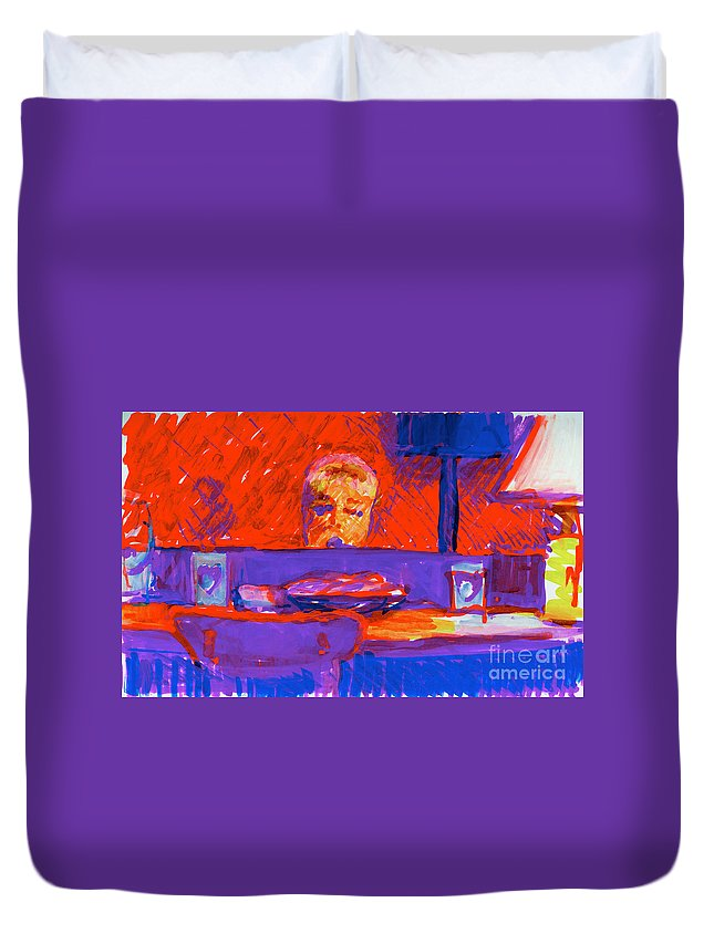 Kennebunkport Inn Singer Duvet Cover featuring the painting Kennebunkport Inn Piano Singer by Candace Lovely