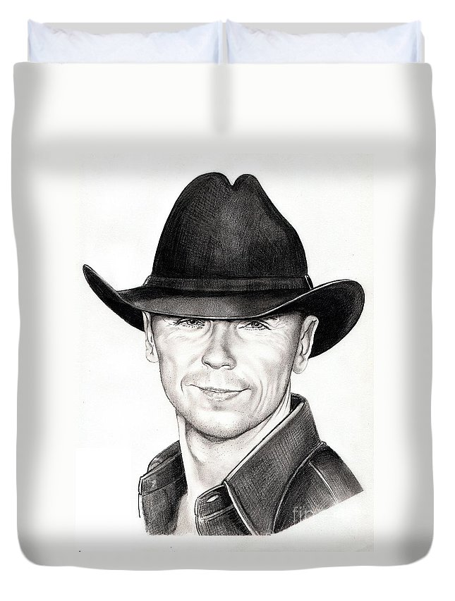 Portrait Duvet Cover featuring the drawing Kenny Chesney by Murphy Elliott