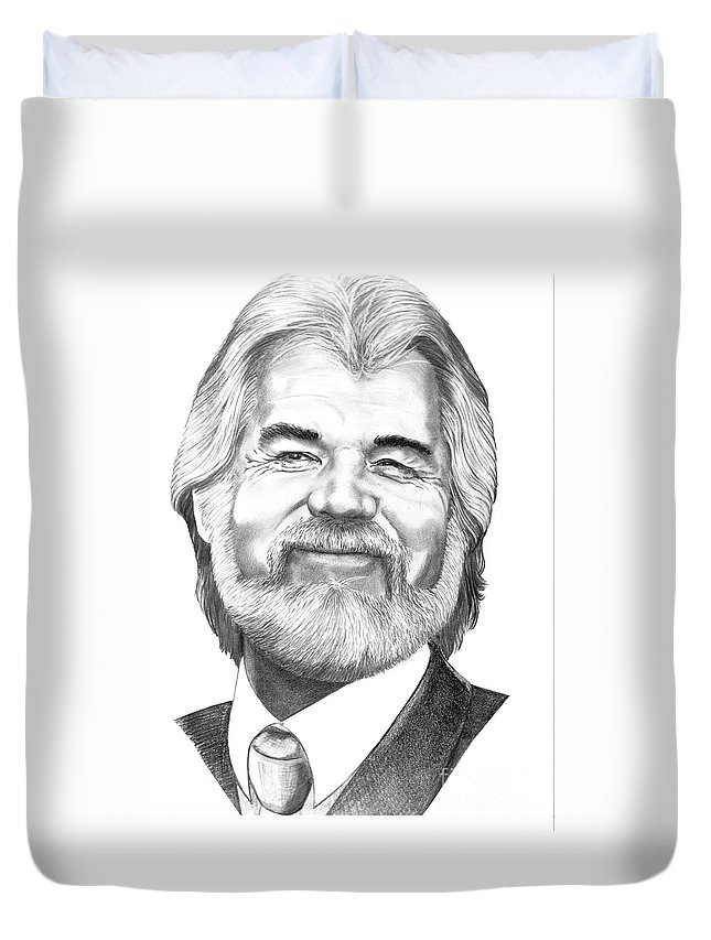 Music Duvet Cover featuring the drawing Kenny Rogers by Murphy Elliott