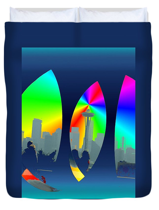 Seattle Duvet Cover featuring the digital art Kerry Needle 3 by Tim Allen