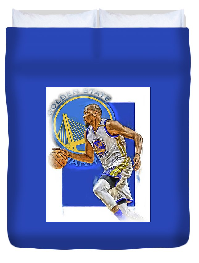 Kevin Durant Duvet Cover featuring the mixed media Kevin Durant Golden State Warriors Oil Art by Joe Hamilton
