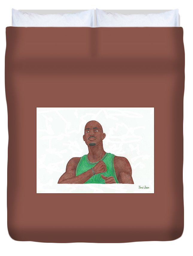 Basketball Duvet Cover featuring the drawing Kevin Garnett by Toni Jaso