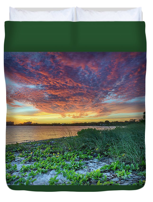 Key Biscayne Duvet Cover featuring the photograph Key Biscayne Sunset by Alejandro Cupi