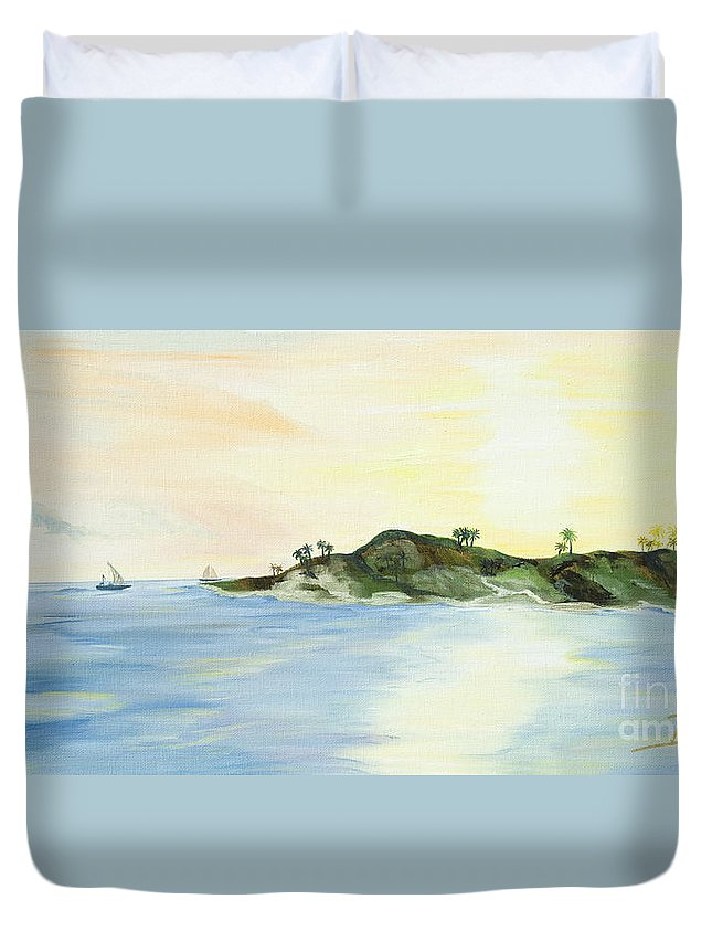 Sunset Painting Duvet Cover featuring the painting Key Lime by Christine Baeza