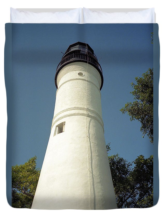 Lighthouses Duvet Cover featuring the photograph Key West Lighthouse by Richard Rizzo