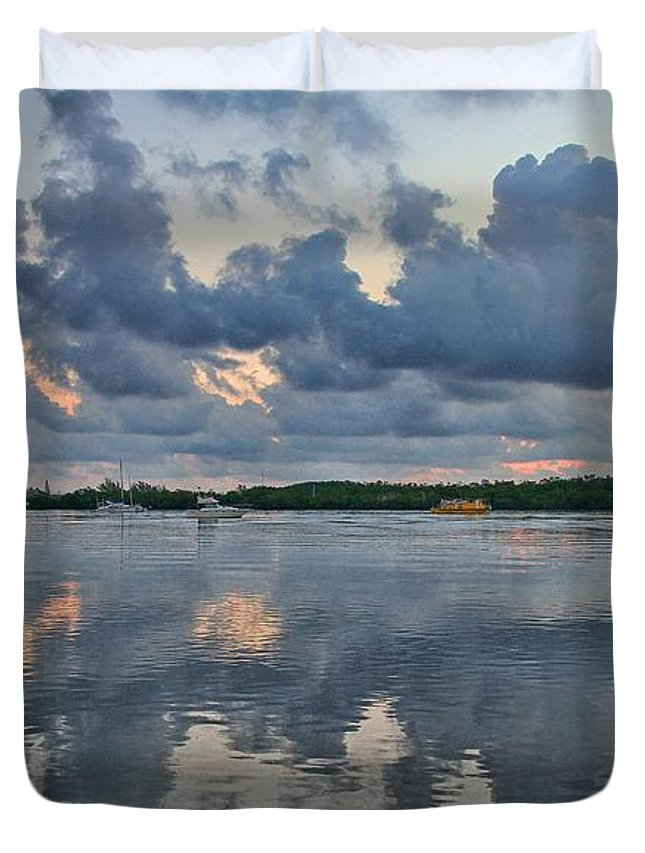 Sunrise Duvet Cover featuring the photograph Key West Sunrise 7 by Bob Slitzan