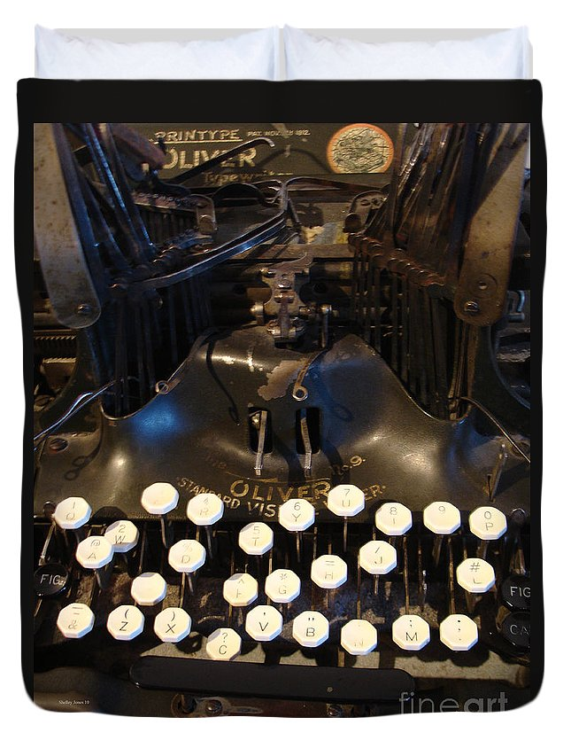 Typewriter Duvet Cover featuring the photograph Keys Of Time by Shelley Jones