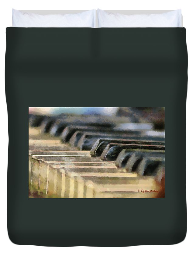 Piano Duvet Cover featuring the painting Keys To My Heart by Lynne Jenkins
