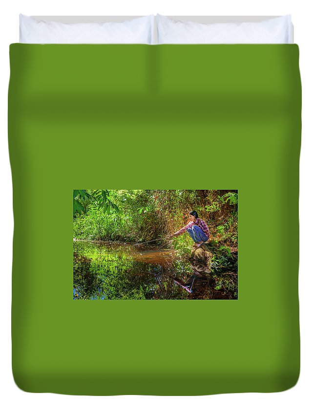 People Duvet Cover featuring the photograph Khmer Woman Fishing - Cambodia by Art Phaneuf