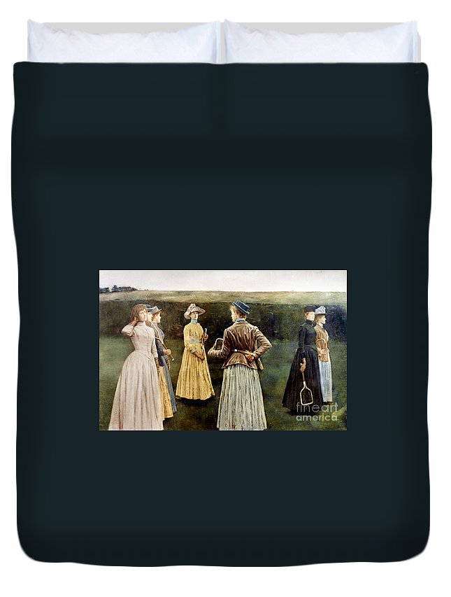 1889 Duvet Cover featuring the photograph Khnopff: Memoires, 1889 by Granger