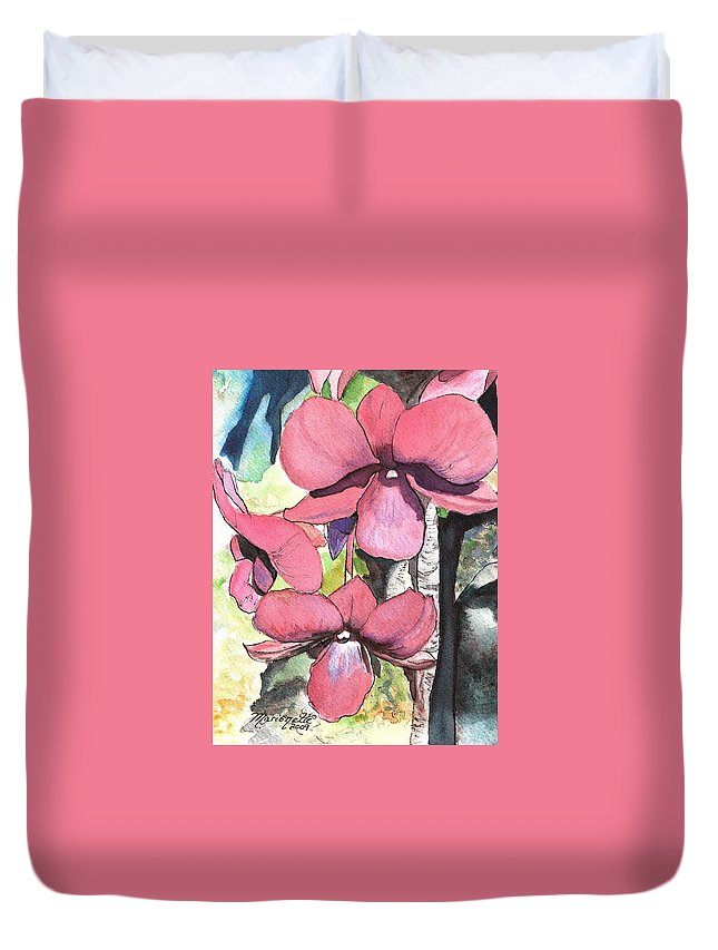 Orchid Duvet Cover featuring the painting Kiahuna Orchids by Marionette Taboniar