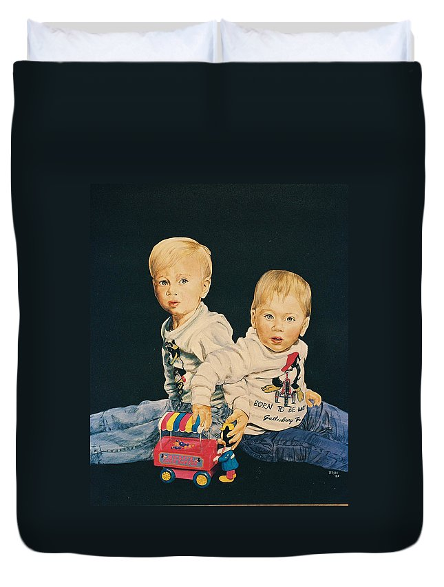 Kids Duvet Cover featuring the painting Kids by Bryan Bustard