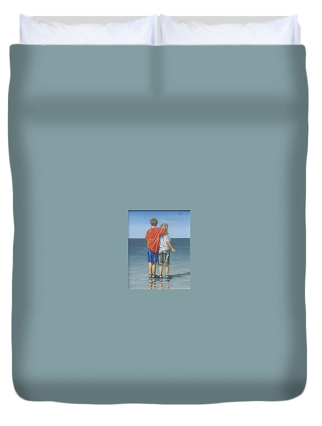 Kids Duvet Cover featuring the painting Kids by Natalia Tejera