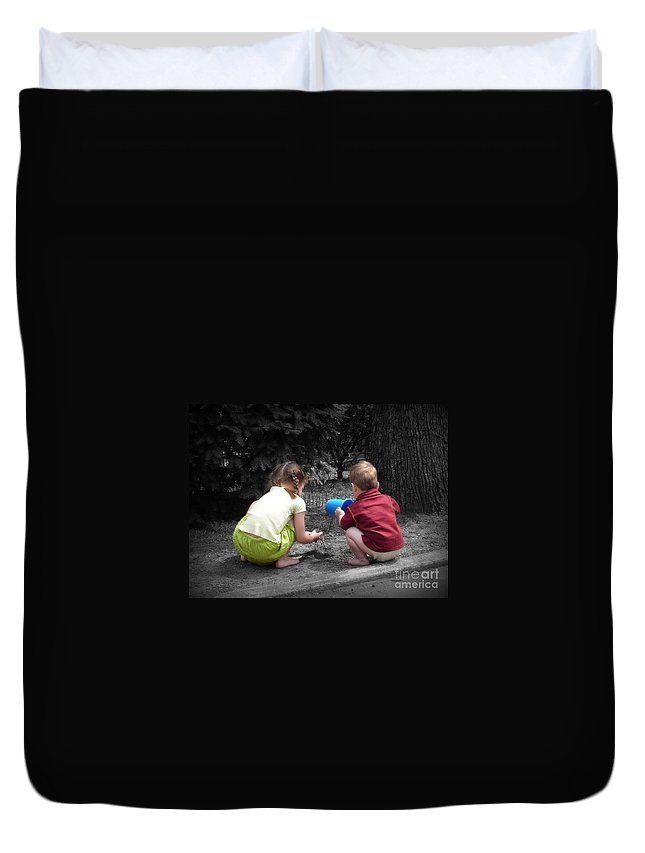 Children Duvet Cover featuring the photograph Kids by Rick Monyahan