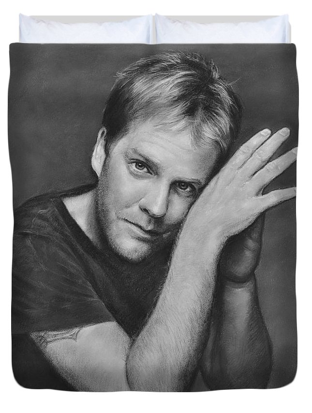 Portraits Duvet Cover featuring the drawing Kiefer Sutherland by Iliyan Bozhanov