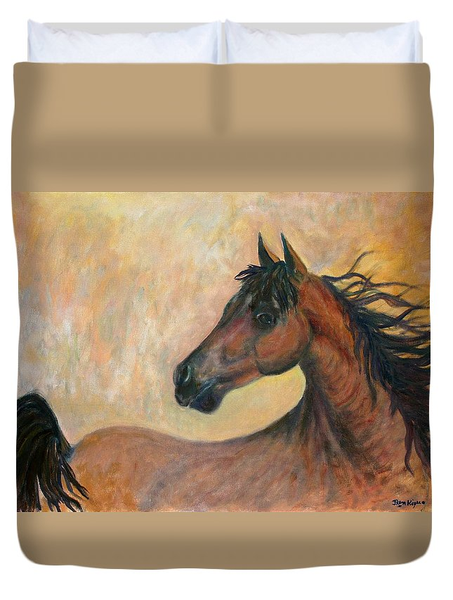 Horse Duvet Cover featuring the painting Kiger Mustang by Ben Kiger