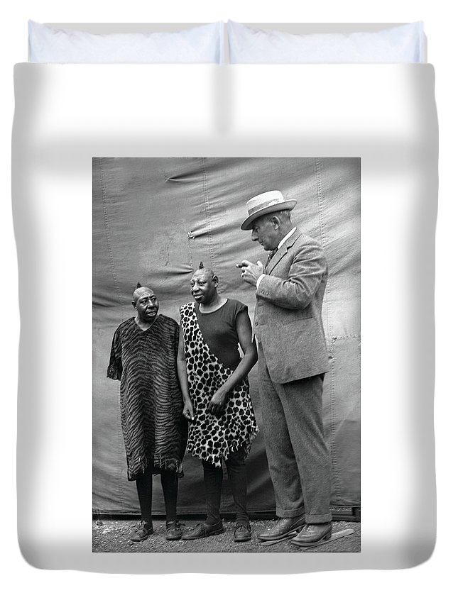 Kiko Duvet Cover featuring the photograph Kiko And Sulu Pinheads by Unknown