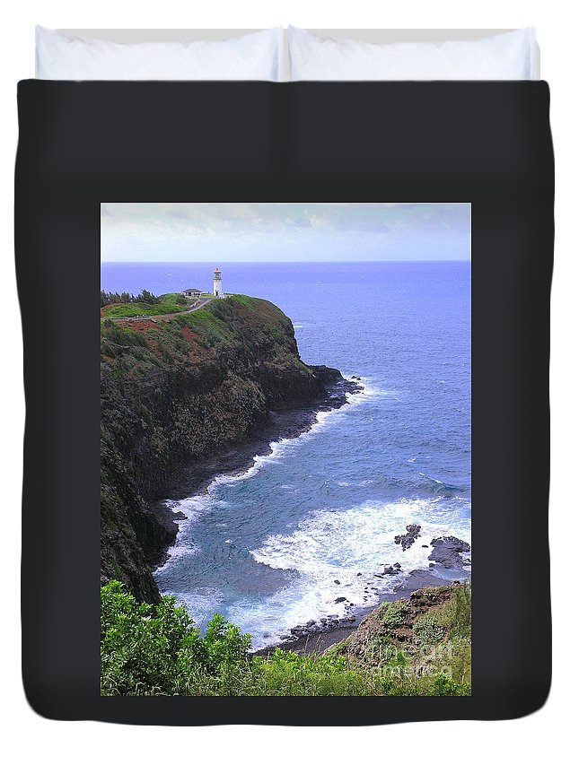 Lighthouse Duvet Cover featuring the photograph Kilauea Lighthouse And Bird Sanctuary by Mary Deal
