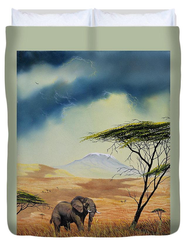 Landscape Duvet Cover featuring the painting Kilimanjaro Bull by Don Griffiths