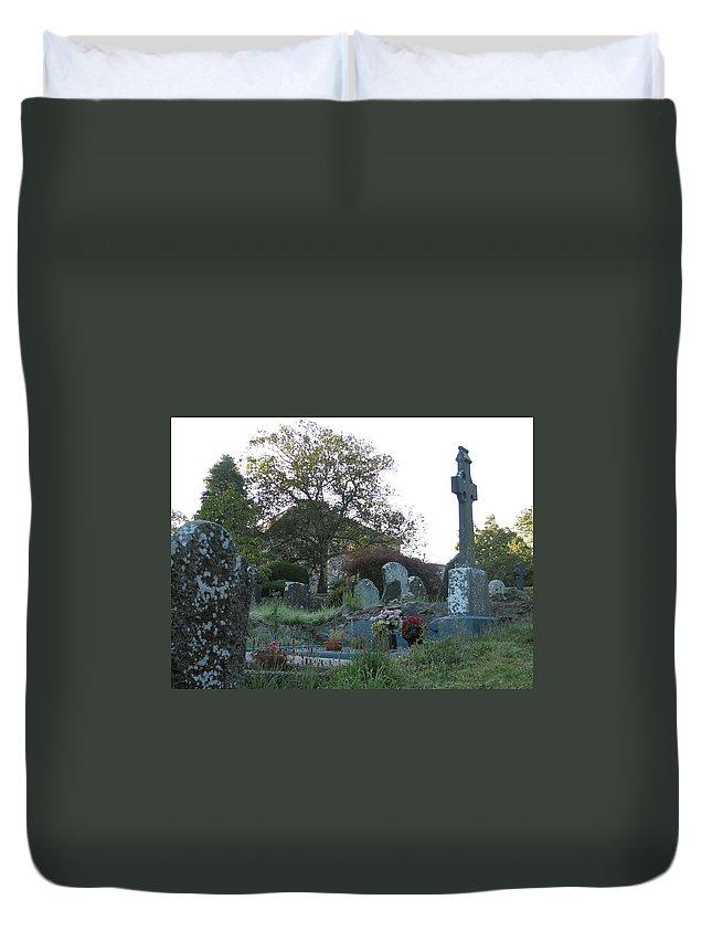 Graveyard Duvet Cover featuring the photograph Kilmokea Graveyard by Kelly Mezzapelle