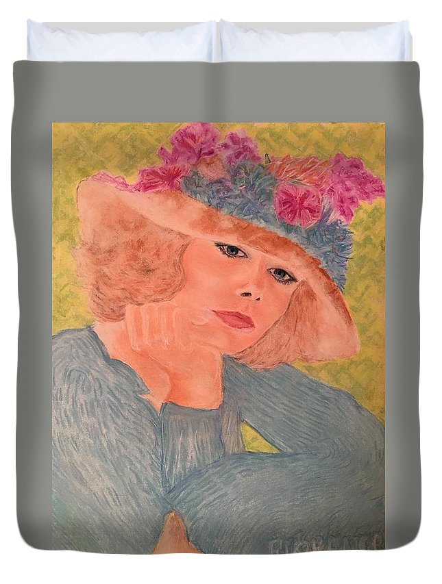 Vogue Model Duvet Cover featuring the pastel Kim Alexis In Flowery Hat by Florence Hsu