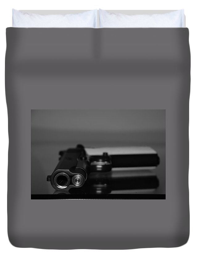 45 Auto Duvet Cover featuring the photograph Kimber 45 by Rob Hans
