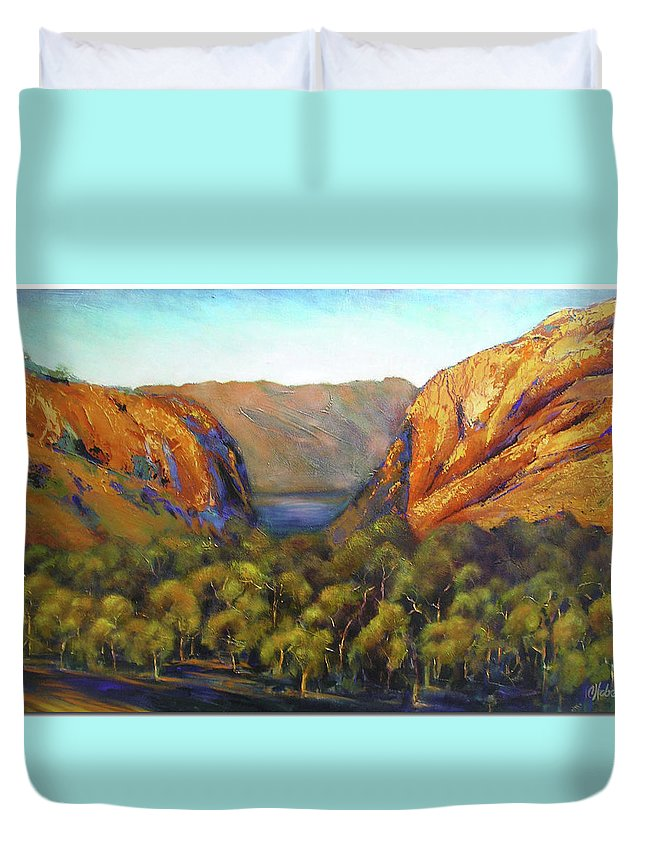 Landscape Duvet Cover featuring the painting Kimberley Outback Australia by Chris Hobel