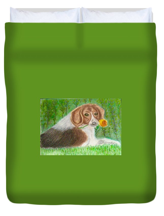 Dog Duvet Cover featuring the pastel Kindness by Rana Alghafir
