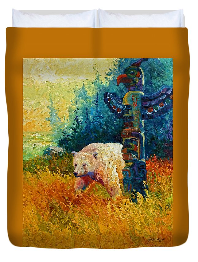 Western Duvet Cover featuring the painting Kindred Spirits - Kermode Spirit Bear by Marion Rose