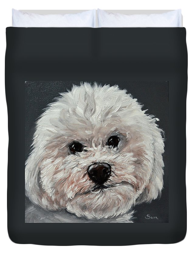 Art & Collectibles Pet Portrait Custom Painting Custom Pet Portrait Original Painting Dog Art Portrait Customized Pet Memorial Cat Painting Family Portrait Paining From Photo Custom Pet Painting Custom Dog Painting Duvet Cover featuring the painting King Cavalier And Toy Poodle Mix by Sun Sohovich