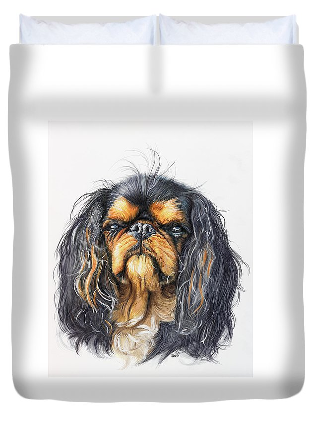 Toy Breed Duvet Cover featuring the painting King Charles Spaniel In Watercolor by Barbara Keith