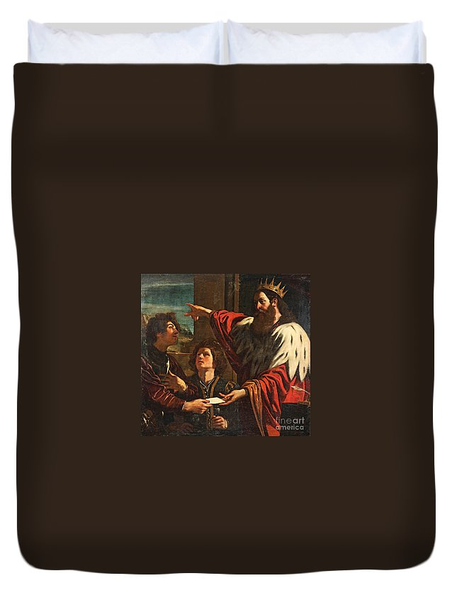 Giovanni Francesco Barbieri Duvet Cover featuring the painting King David Giving Uriah A Letter by MotionAge Designs