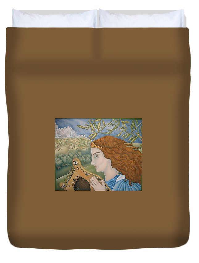 Bible Duvet Cover featuring the painting King David In His Youth by Jeniffer Stapher-Thomas
