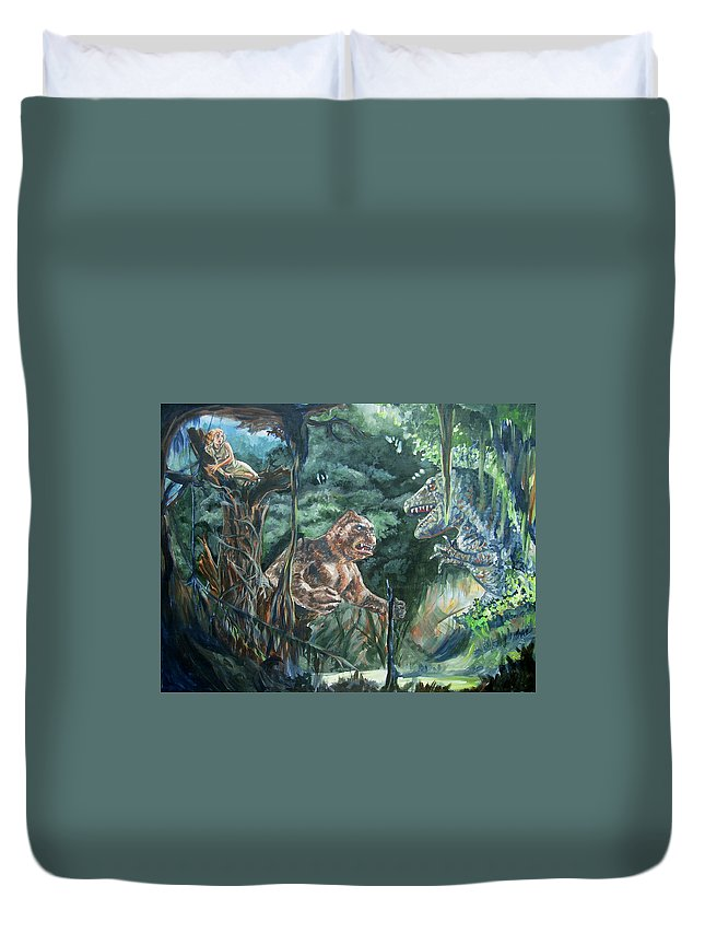 King Kong Duvet Cover featuring the painting King Kong Vs T-rex by Bryan Bustard