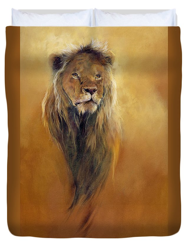Animal; Furry; Lion; Wild Animal; Predator: King: Leo Duvet Cover featuring the painting King Leo by Odile Kidd