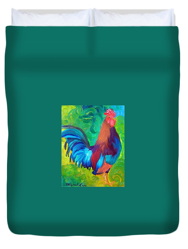 Rooster Duvet Cover featuring the painting King Of The Barn by Michael Lee