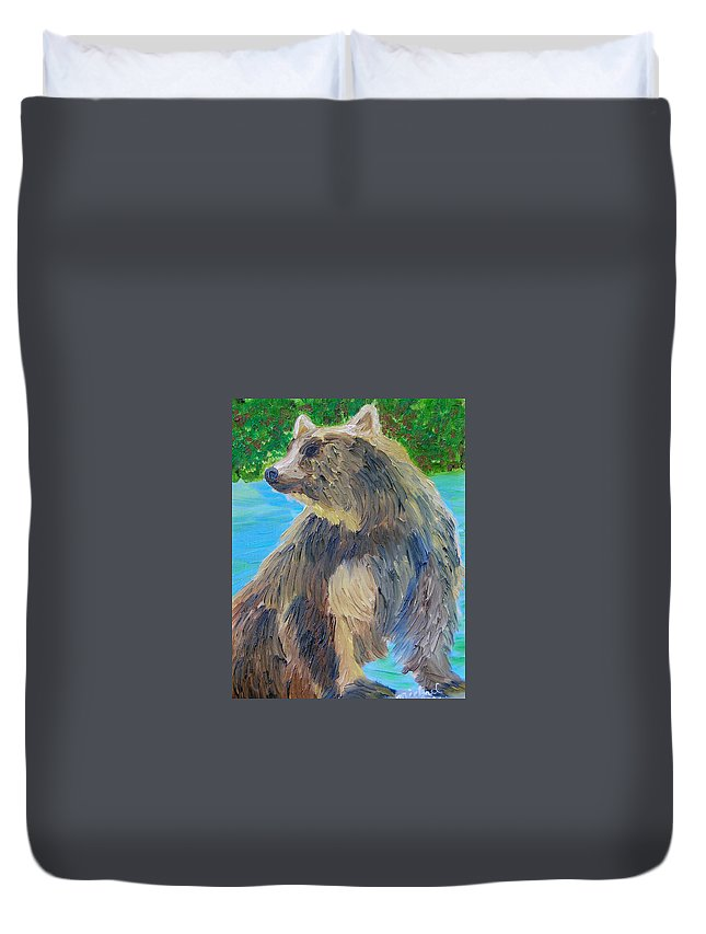 Bear Duvet Cover featuring the painting King Of The Stream by Michael Lee