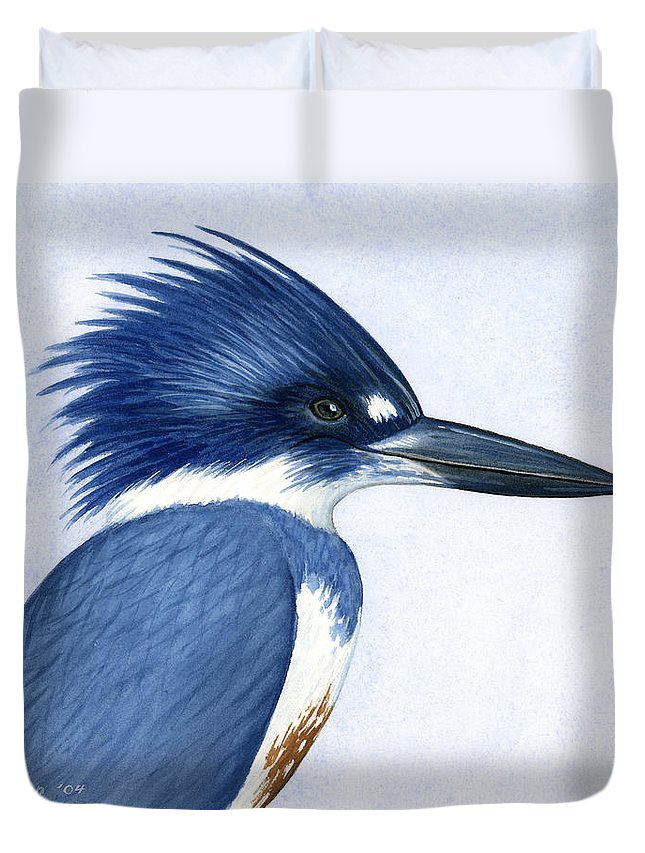 Kingfisher Duvet Cover featuring the painting Kingfisher Portrait by Charles Harden